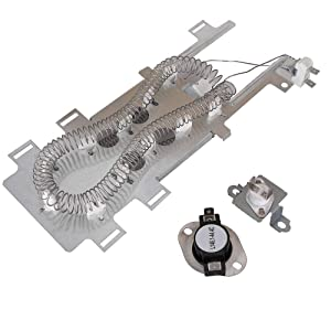 8544771 Dryer Heating Element & 279973 Thermal Fuse & Thermostat Cut Off Kit for Whirlpool Kenmore Maytag Replaces WP8544771 W10836011 AP6013115 PS11746337 PS990361 EAP11746337 7154072 1180054