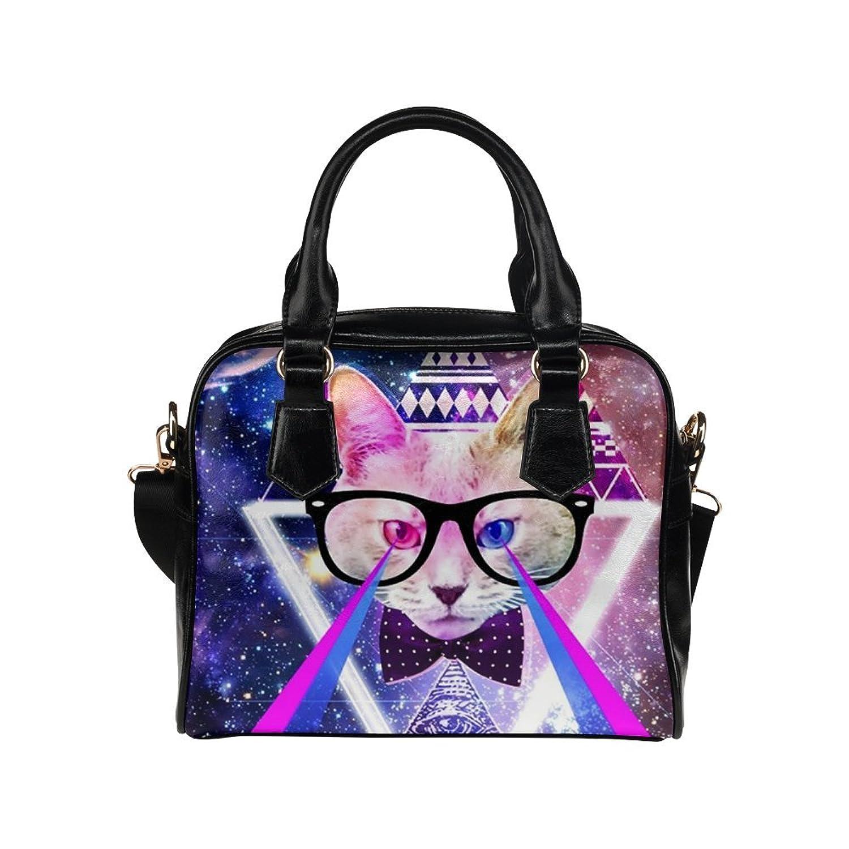 Angelinana Custom Women's Handbag Neoprene Funny Cat & Galaxy Space3 Fashion Shoulder Bag