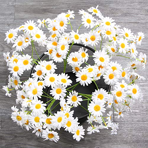 AmyHomie Artificial Flowers, Silk Daisy, Artificial Gerber Daisy for Home Decoration, Artificial Daisy for Wedding Decoration (White) ...