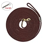 PET ARTIST Braided Nylon Rope 10ft-66ft Tracking/Training Long Dog Leash, Dark Brown Rope Anti-Rust Heavy Duty Copper Clasp/Hook - Extra Long Lead Comfortable Touching(33ft)