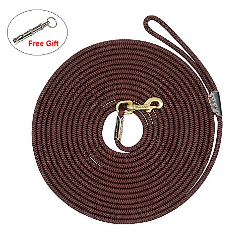 - PET ARTIST Braided Nylon Rope 10ft-66ft Tracking/Training Long Dog Leash, Dark Brown Rope with Anti-Rust Heavy Duty Copper Clasp/Hook - Extra Long Lead with Comfortable Touching(33ft)