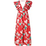 QUINTRA Womens Summer Large Size Casual Loose Natural Short Sleeve Flower Print Vintage Fit and Flare Mid-Calf Dress