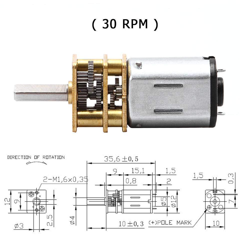 Powlance Moteur de R/éduction Micro de Moteur /à Engrenages de Moteur /à Engrenages /à Courant Continu en Acier Inoxydable 100 Tr//Min