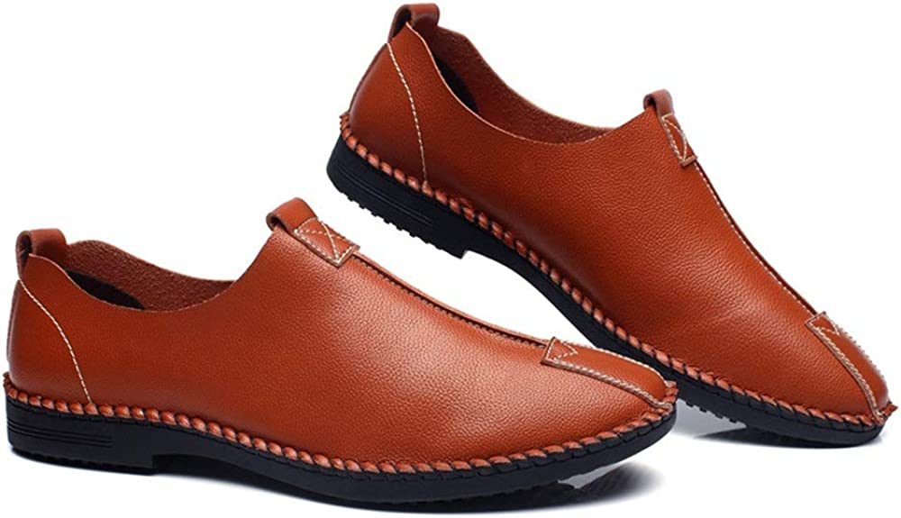 Hishoes Mens Leisure Loafers Pointed Toe Oxfords Casual Flat Penny Shoes Microfiber Upper Slip On Walking Driving Shoes Lightweight Anti-Slip