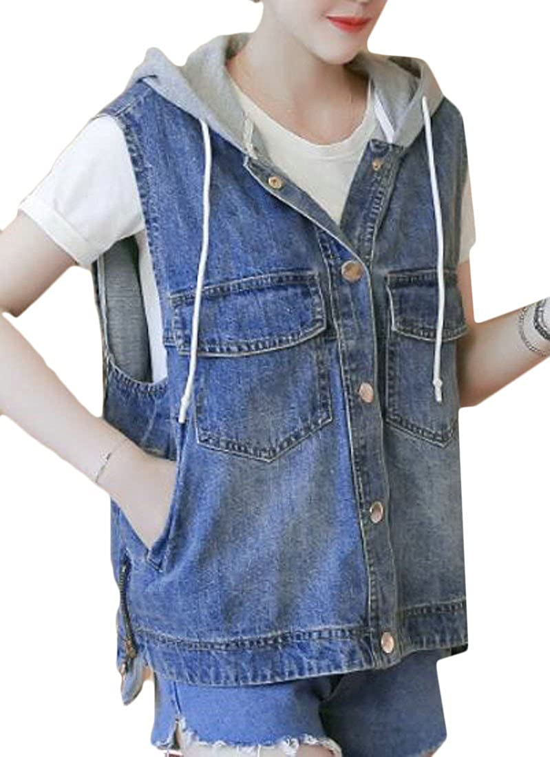 Etecredpow Women Sleeveless Stitch Faded Hoodie Loose Fit Jackets Denim Vest