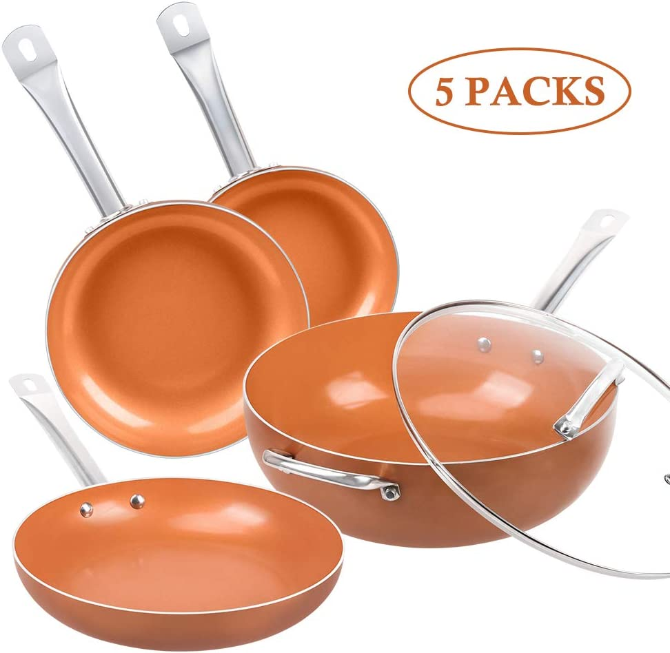 SHINEURI 5 Pieces Nonstick Ceramic Copper Fry Pan Set - 8/9.5/11 Inch Round Frying Pan Set, 12 Inch Woks and Stir Fry Pans with Lid, Copper Skillet with Induction Base & Stainless Steel Handle
