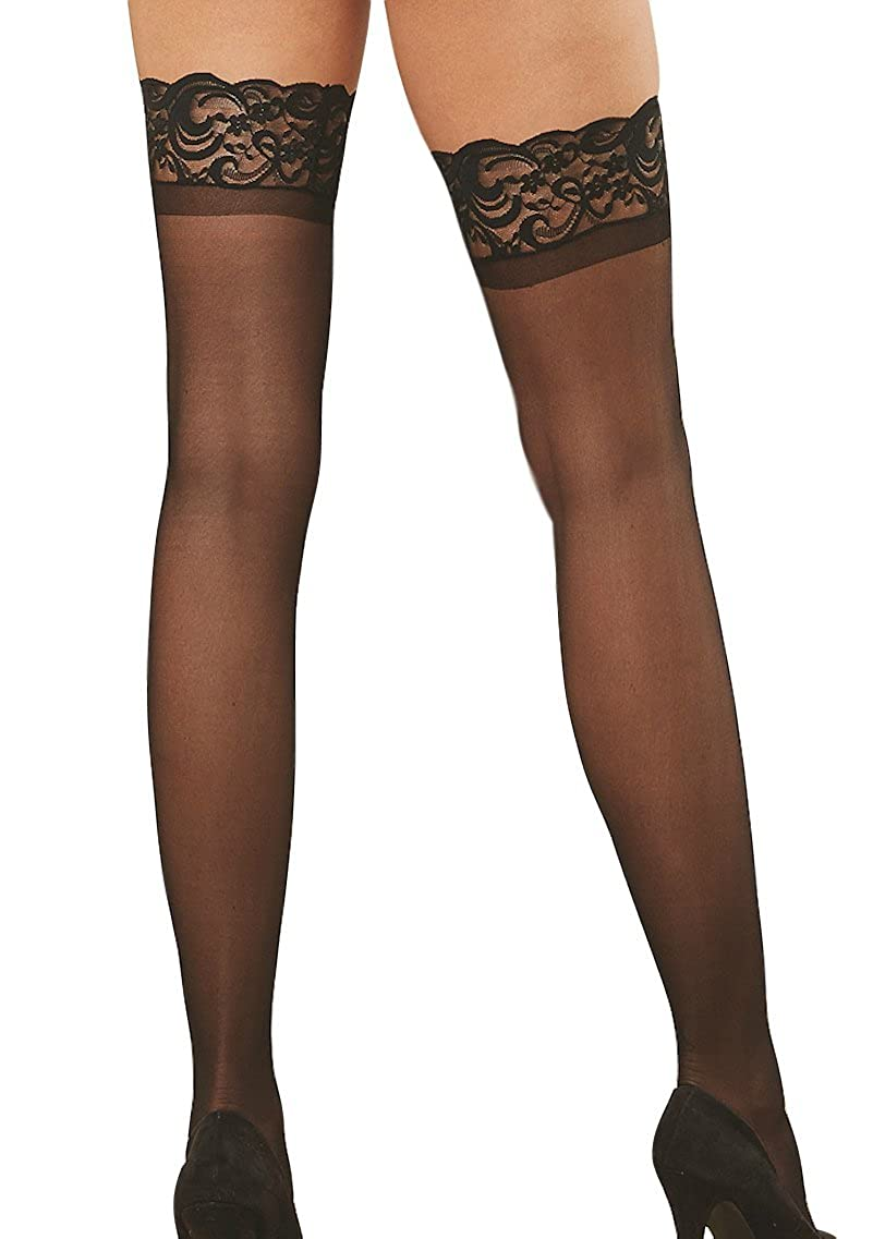 4ea8253a73c Amazon.com  Dreamgirl (2 Pair) Black Women s Silicone Lace Top Thigh High  0005  Clothing