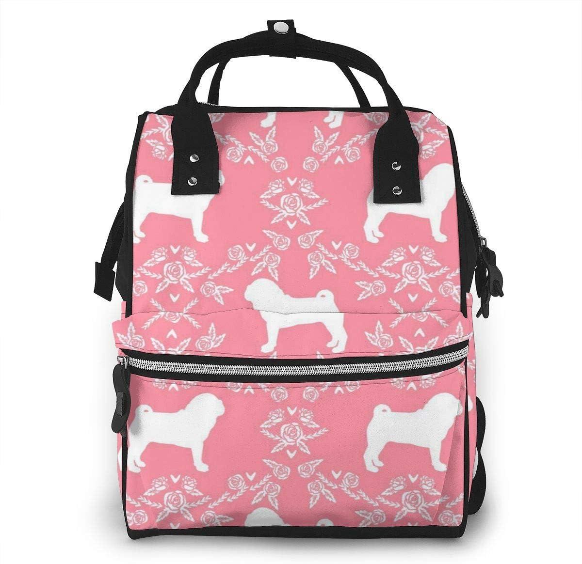 nbvncvbnbv Bolsa de pañales para bebés Pug Raza de perro Silueta Mochila floral Multifunción Bolsas de pañales impermeables de viaje Capacidad Paquete de diseño de moda creativa Mochilas casuales