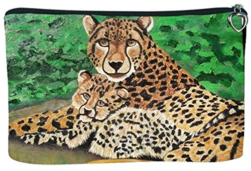 - Cosmetic Bag, Zipper Pouch - Zip-top Closer - Taken from My Original Paintings - Animals (Cheetah - Fleeting Ambassadors)