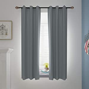 Blackout Curtains Bedroom Living Room Grommet Top Thermal Insulated Darkening Curtains Room Window Sunshade Drape, Set of 2 Panels (42 Wide x 63 Length, Grey)