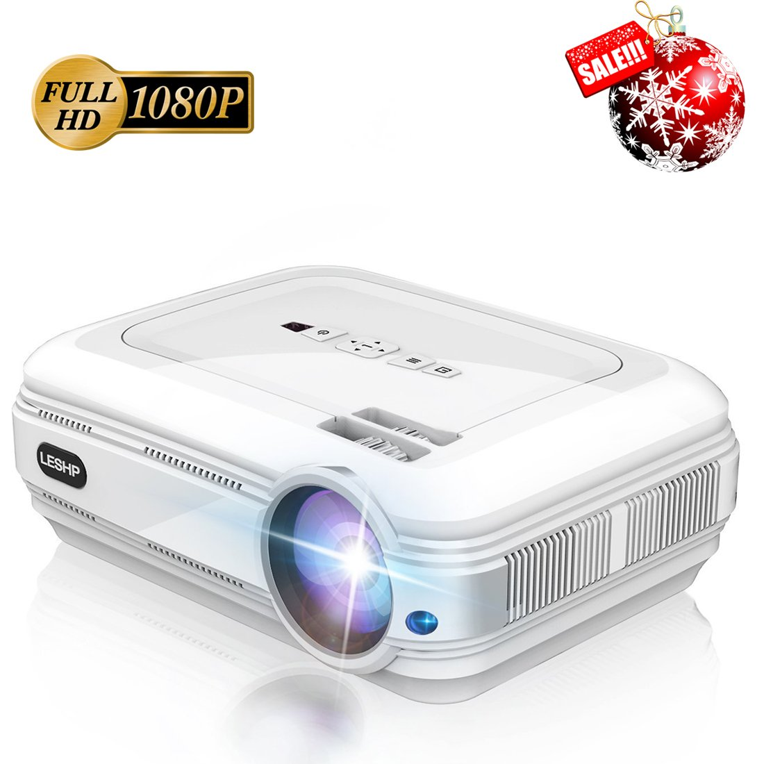 3200 Lumens Full HD 1080P Projector, LESHP Video Projector LED + LCD FOR Home Theater, 1280 x 1920 max resolution Contrast 3000:1, Support 1080P / USB / VGA / SD / HDMI for Xbox / iPhone / Smartphone