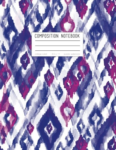 Composition Notebook - College Ruled, 8.5 x 11, Purple Watercolor: Soft Cover, 110 Pages