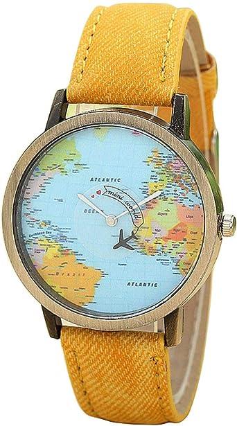 DAYLIN Relojes Mujer Hombre de Moda Vintage Tierra Mundo Mapa ...