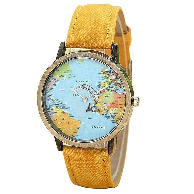 ZODOF Relojes Mujere, Moda Viaje Global en avión Mapa Reloj de Pulsera de Reloj de Cuarzo analógico de Cuarzo de Dama analógico clásico: Amazon.es: Ropa y ...