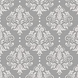 SimpleLife4U Peel & Stick Drawer Liner Removable Contact Paper for Covering Apartment Old Cabinets Shelves, Gray-White Damask, 17.7 Inch By 9.8 Feet