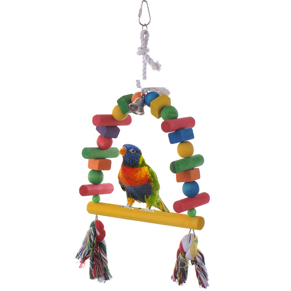 Yunt Colorful Wood Bird Toy Parrot Chew Toys Cage Stand with Bell For African Grey Conure Parakeet Cockatiel Finch Lovebird Budgie