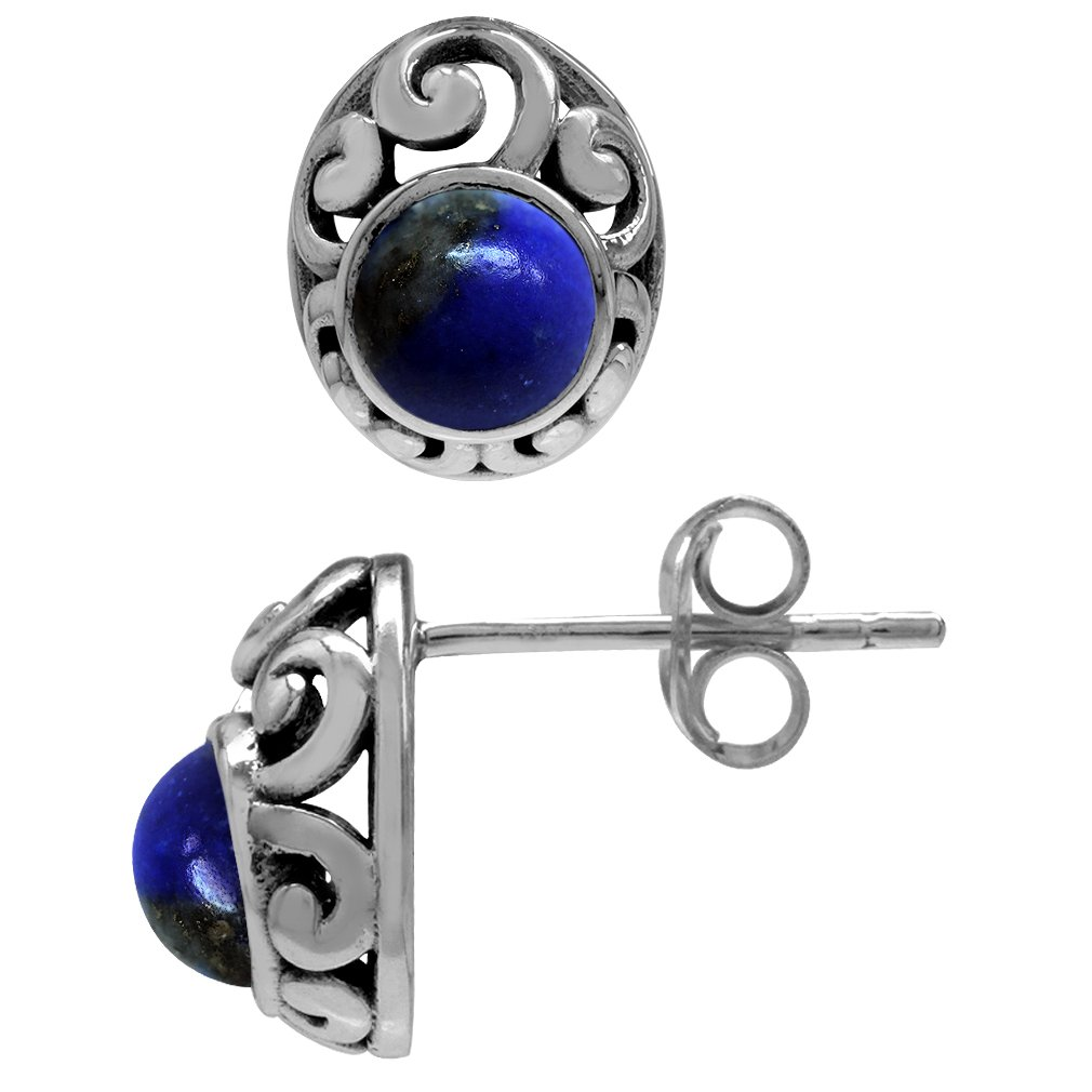 Petite Genuine Lapis 925 Sterling Silver Southwest Style Filigree Stud Earrings