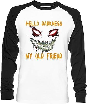 Hello Darkness My Old Friend Shirt Unisex Camiseta De Béisbol Manga Larga Hombre Mujer Blanca Negra: Amazon.es: Ropa y accesorios
