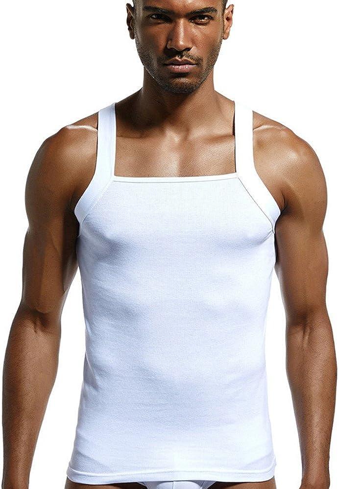 Camisetas de Tirantes Hombres,SHOBDW Jersey de Algodón Acanalado de Corte Casual de Diseñador Sólido Chaleco Sin Mangas de Verano Tops Blusa de Cuello ...
