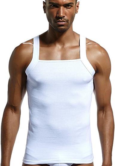 Camisetas de Tirantes Hombres, SHOBDW Jersey de Algodón Acanalado ...