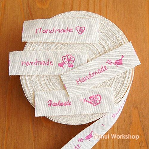 2metros/10metros: tela de algodón hecho a mano y Zakka de etiqueta logotipo Rose 1,4cm (15mm) Cut &...