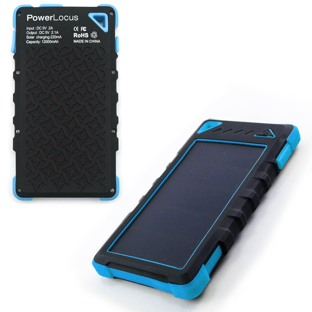 Solarladegerät 12000mAh, PowerLocus® Solar Power Bank Batterie für iPhone Android-Handy Samsung iPad Tablet Camera GPS, Dual USB Port Tragbares Schnittstelle Externer Akku Backup Wasserdicht Stoßfest Staubdicht (Blau)