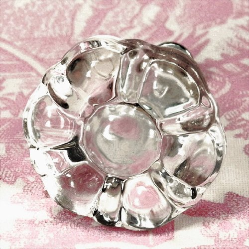 Dresser Drawer Knob, Glass Cabinet Pulls and Cupboard Door Handles 2 Pack T11MN Clear Vintage Replica Flower Style Glass Pulls with Nickel Hardware. Made by Romantic Decor & More