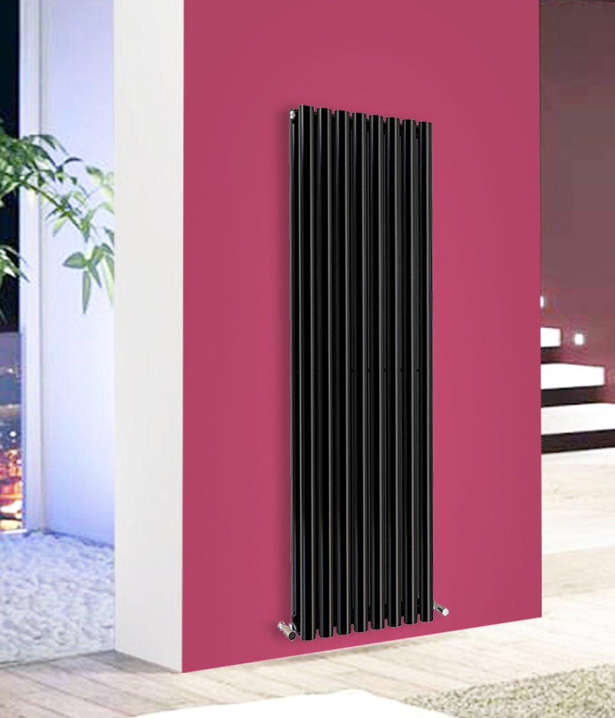 Nrg modern vertical column designer radiator black 1600x472 oval double panel home livingroom bedroom bathroom heater amazon co uk diy tools