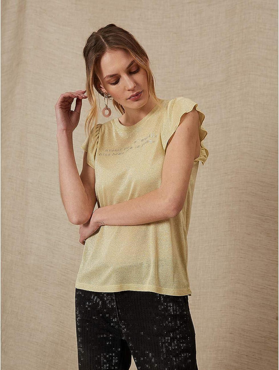 Oltre : T-Shirt Lurex con Scritta (Italian Size) Giallo