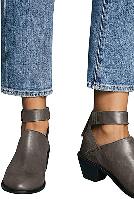 OPTIMIS Womens Ankle Boots Cut Out Pointed Toe Buckle Strap Stitch Leather Heeled Booties