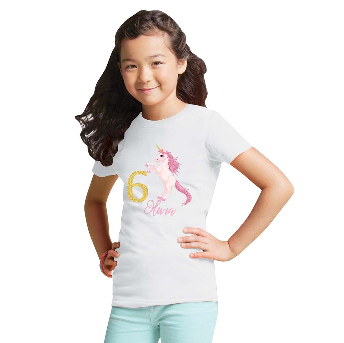 NanyCrafts' Personalized Unicorn Birthday Gold Glitter Girl's Shirt 9/10Y White by NanyCrafts (Image #1)