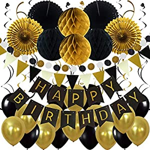 Best Epic Trends 61sgHlSGYYL._SS300_ ZERODECO Birthday Party Decoration, Happy Birthday Banner with Paper Fans, Honeycomb Balls, Triangular Pennants, Circle…