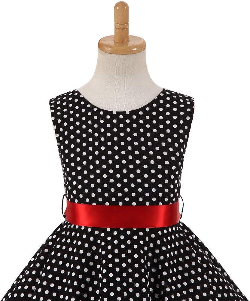 SXSHUN-Abito di Estate per Bambina Stile Vintage Vestito Senza Maniche con Stampa con Cintura