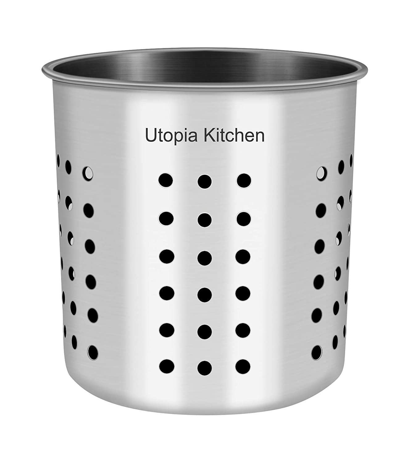 "Utopia Kitchen Utensil Holder - Utensil Container 5"" x 5.3"" - Utensil Crock - Flatware Caddy - Brushed Stainless Steel Cookware Cutlery Utensil Holder"
