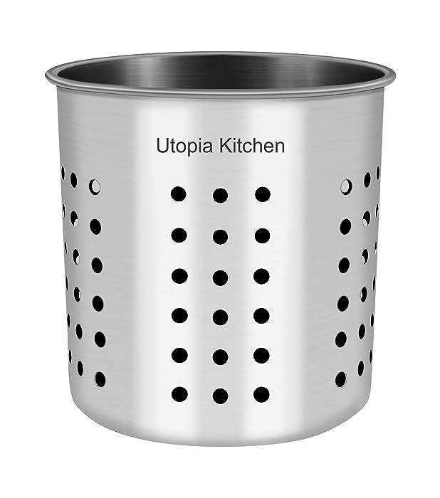 "Utopia Kitchen Utensil Holder - Utensil Container 5"" x 5.3"" - Utensil Crock - Flatware Caddy - Brushed Stainless Steel Cookware Cutlery Utensil Holder"