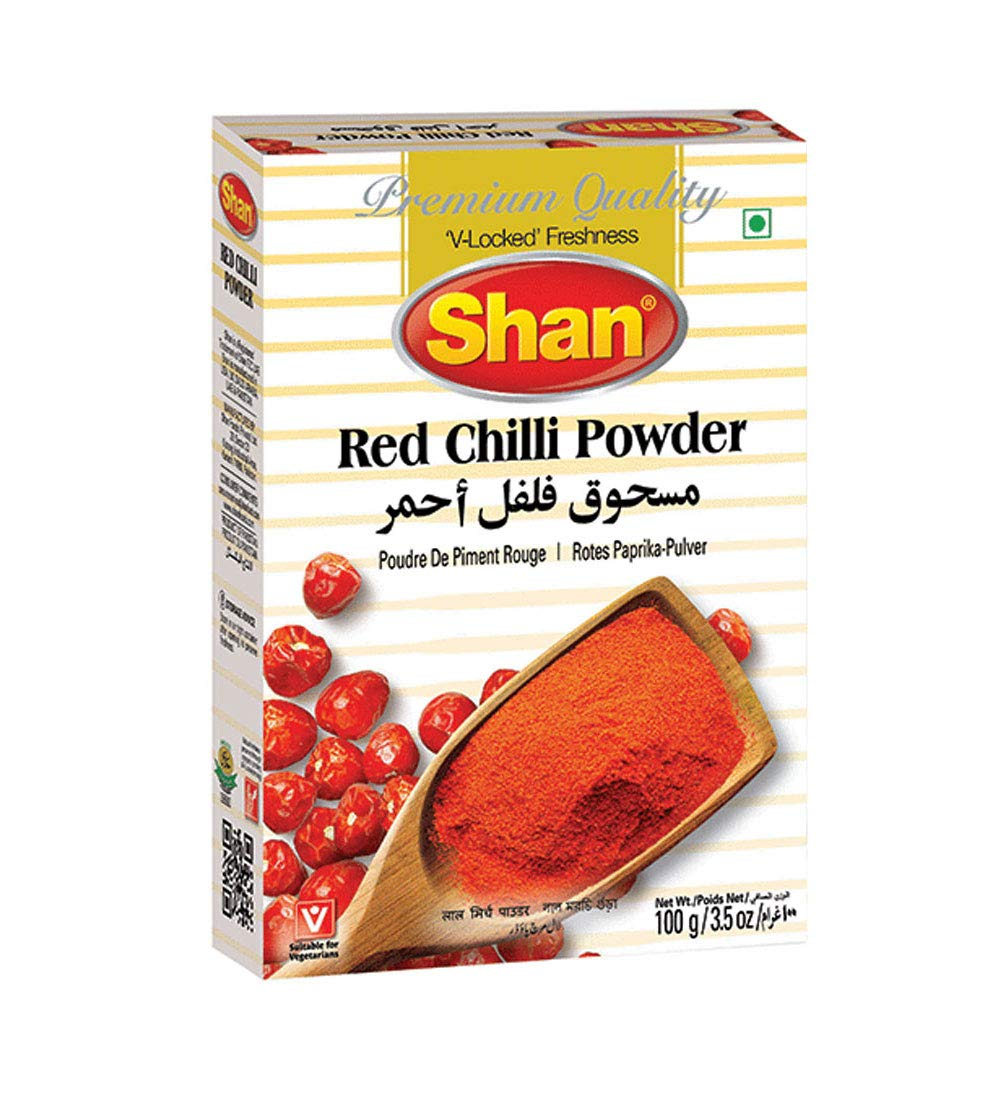 Shan Red Chilli Powder 3.52 oz (100g) - No Preservative and Artificial Food Colour - Authentic and Pure Spices - Halal and Suitable for Vegetarians - Airtight Aluminum Pouch