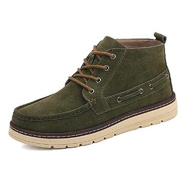 SHANGWU Botas cálidas de Invierno para Hombre y Botas de Terciopelo Big Dock Layer Zapatos de