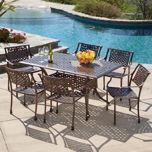 Mediterranean Patio Furniture - Sierra Patio Furniture ~ 7-piece Cast Aluminum Outdoor Dining Set