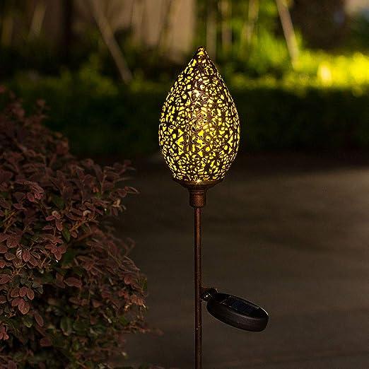 PopHMN Luz Solar para Jardín, Luz Duradera para Estacas al Aire Libre, Luz Impermeable de Metal Verde Oliva para Decoración al Aire Libre Patio, Césped, Patio: Amazon.es: Iluminación