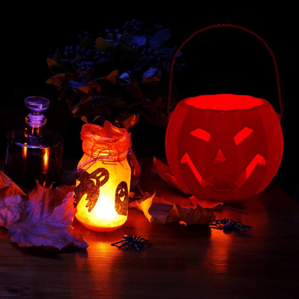 yanbirdfx Halloween Jack-O-Lantern Pumpkin Lamp LED Light Screaming Candy Holder Kids Gift