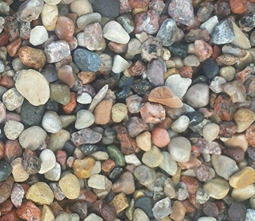 Safe & Non-Toxic {Various Sizes} 50 Pound Bag of Prewashed Gravel, Rocks & Pebbles Decor for Freshwater & Saltwater Aquarium w/ Rustic Earth Toned Smooth River Inspired Natural Style [Tan, Gray & Red] by mySimple Products