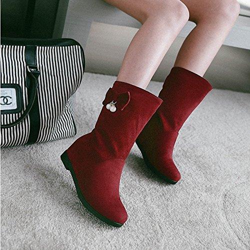 khskx de las Botas en tubo Inclinación Aumenta con ante Matte Mode Guantes Rojo Vino los zapatos gules