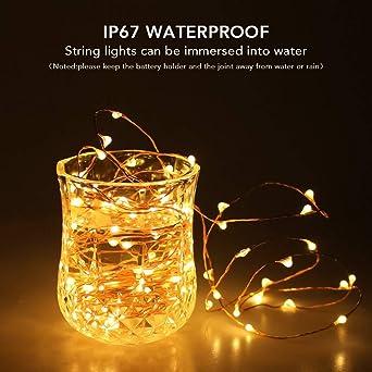 Luces impermeables de la botella de vino de la luz de tira llevada, 8 paquetes 6.5ft 20 luces de cadena de la batería con pilas del LED para el partido ...