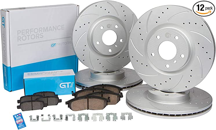 2009 For Honda Odyssey Front Cross Drilled Slotted and Anti Rust Coated Disc Brake Rotors and Ceramic Brake Pads
