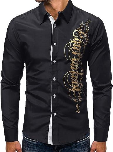 Yvelands Camisa de Solapa con Estampado de Hombre, Camisa de Manga Larga con Corte Slim Casual para Hombre, ¡Ofertas: Amazon.es: Ropa y accesorios