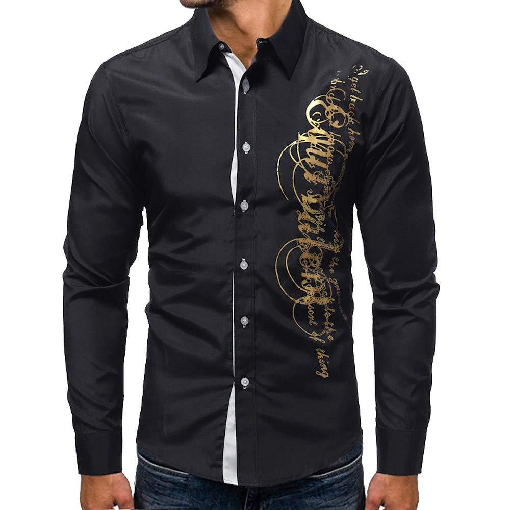 Luweki Mens Tops Sale Clearance Autumn Casual Slim Printed Turn-Down Collor Long Sleeve Social Shirt Blouse(Black,L