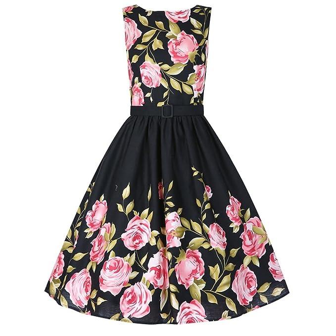 Las mujeres negro rosa floral vestido de verano Aurdey Vintage O-cuello sin mangas vestido
