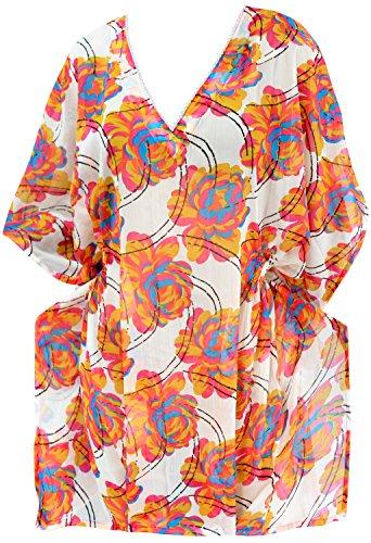 t�nica para mujer del traje de ba�o del traje de ba�o traje de ba�o del abrigo vestido caft�n encubrimiento ropa de playa de color rosa
