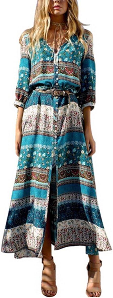 Vestido largo floral de mujer Butterme Vintage con cuello en v. Bohemia Boho Side. Vestido con cuello alto Manga larga. Maxi Vestido para playa verde verde large