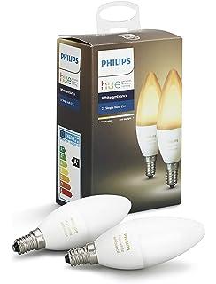 Philips Hue White Ambiance - Pack de 2 bombillas LED E14, 6 W, iluminación inteligente,…